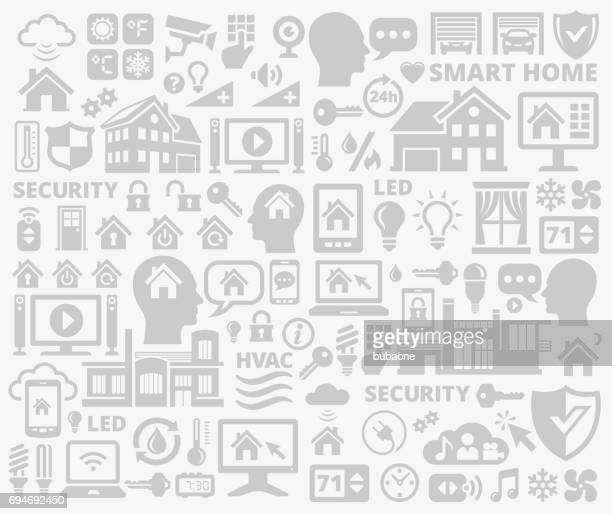 gray home automation and security technology background pattern - volume unit meter stock illustrations, clip art, cartoons, & icons
