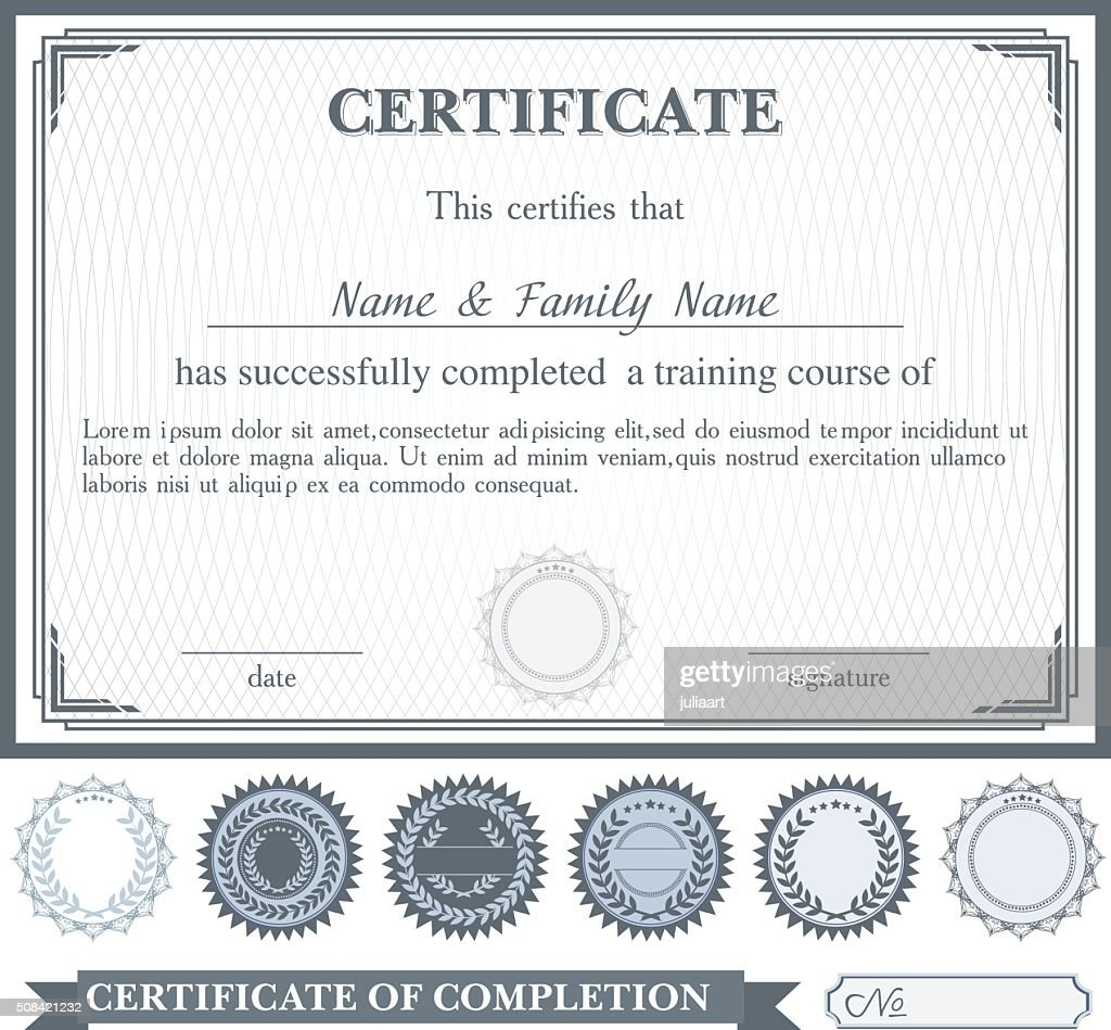 Gray horizontally certificate template with additional design elements