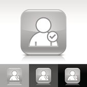 Gray icon user sign glossy rounded square web button