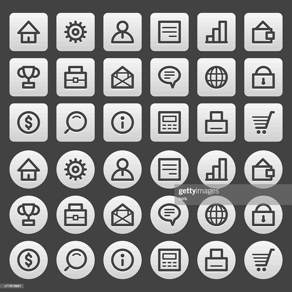 Gray icons set business finance