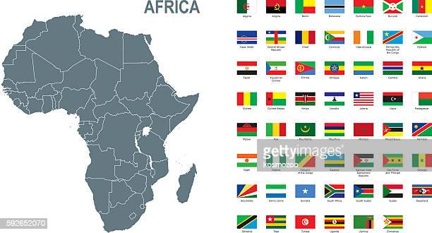 Gray map of Africa with flag against white background