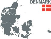 Gray map of Denmark showing the countries five regions