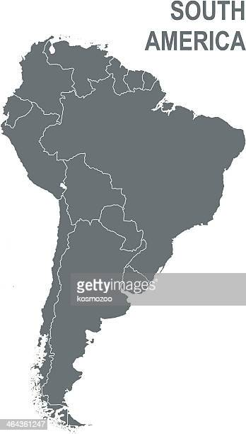Gray map of South America isolated on white background