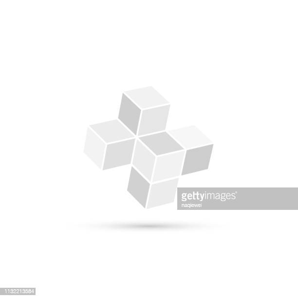 gray minimalism cube pattern - point of view stock illustrations