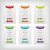 gray pricing tables with color variation