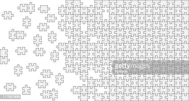 gray puzzle with missing pieces on one side - jigsaw piece stock illustrations, clip art, cartoons, & icons