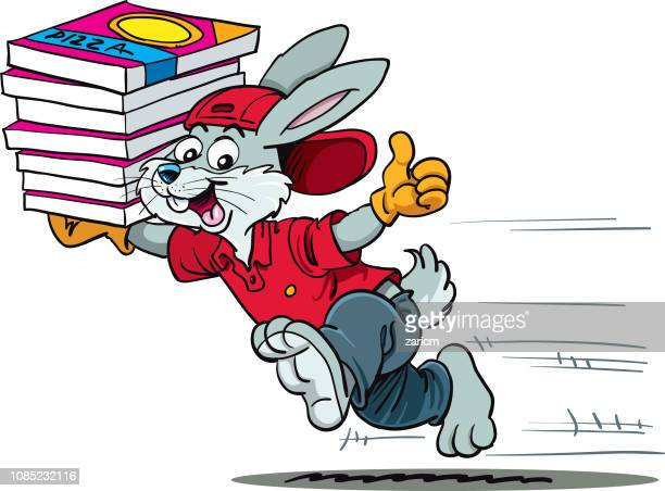Gray quick rabbit delivering pizza fast, cartoon style, smiling. - Vector