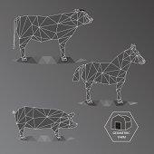 Gray scale geometric illustration of big farm animals - triangle