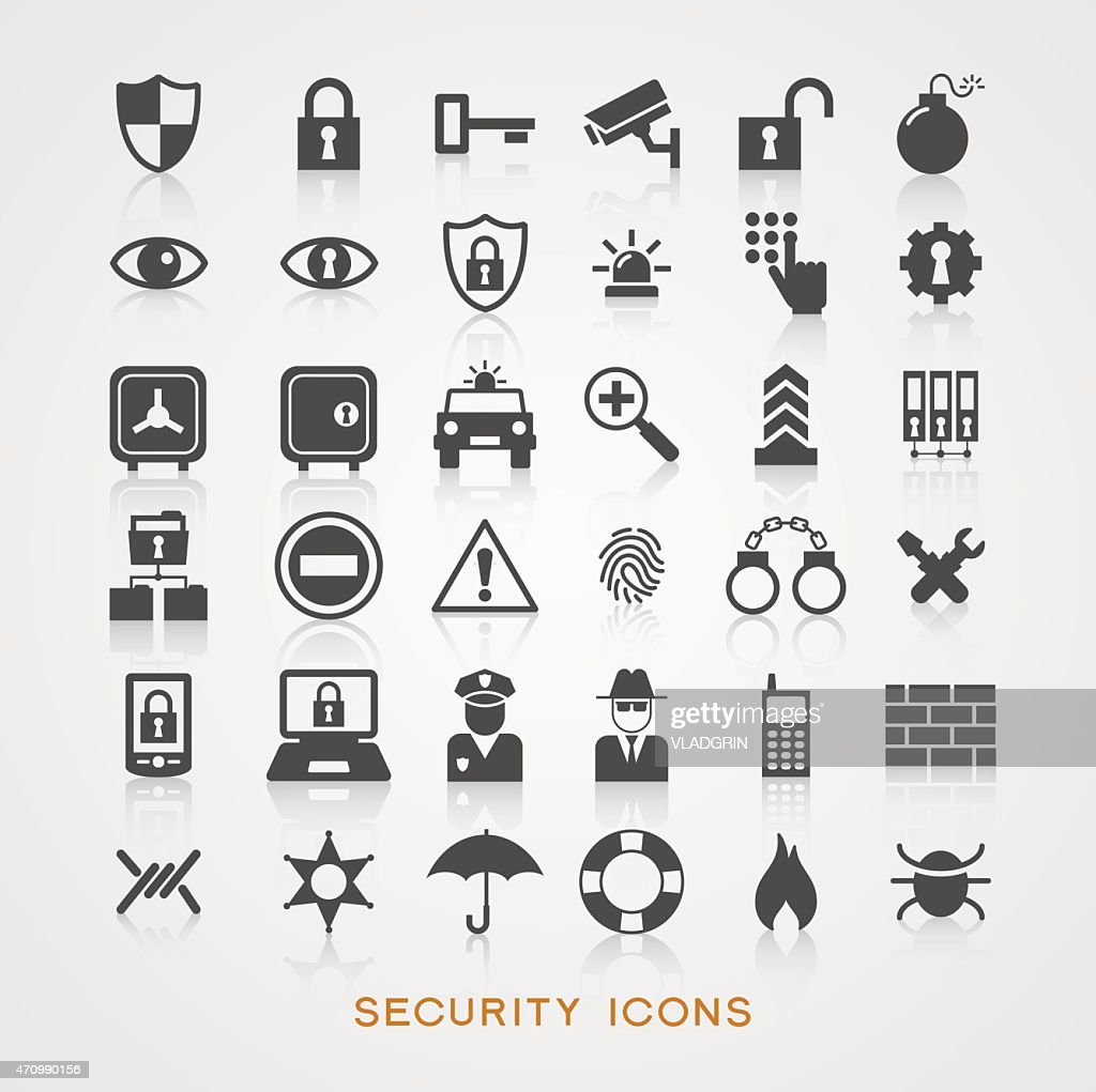 Gray security icons on white background