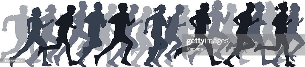 Gray silhouettes of people running