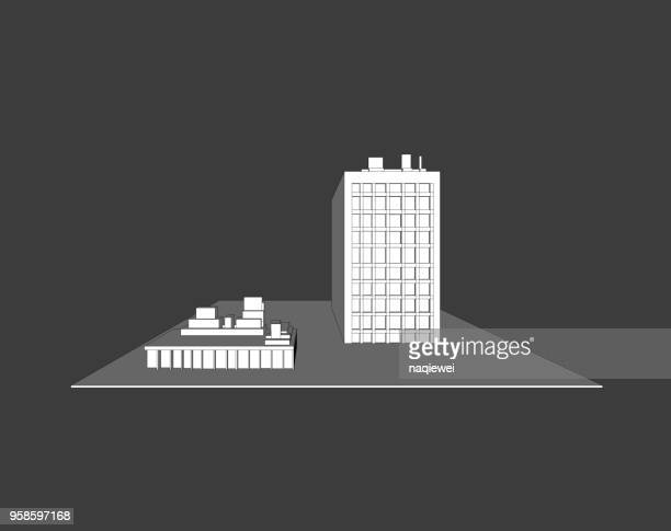 gray vector building model - model to scale stock illustrations, clip art, cartoons, & icons