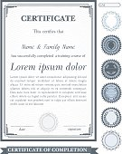 Gray vertical certificate template with additional design elements