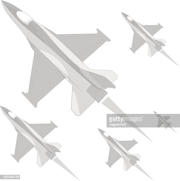 grayscale f16 - falcons stock illustrations, clip art, cartoons, & icons