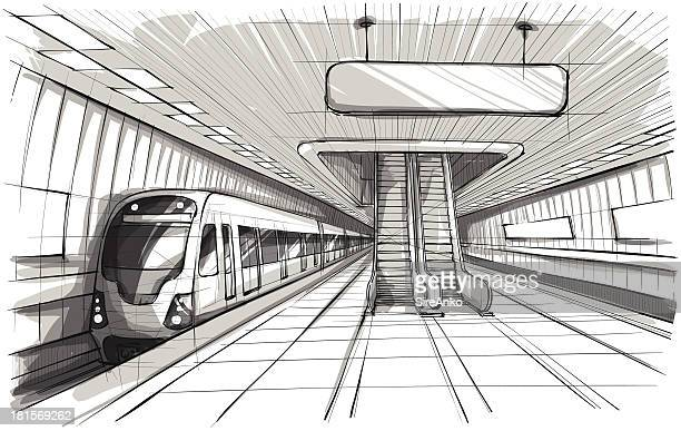 Grayscale illustration of an underground train station