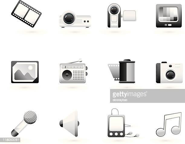 grayscale multimedia icon set