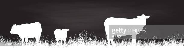 illustrations, cliparts, dessins animés et icônes de pâturage de vaches chalkboard - image clipart