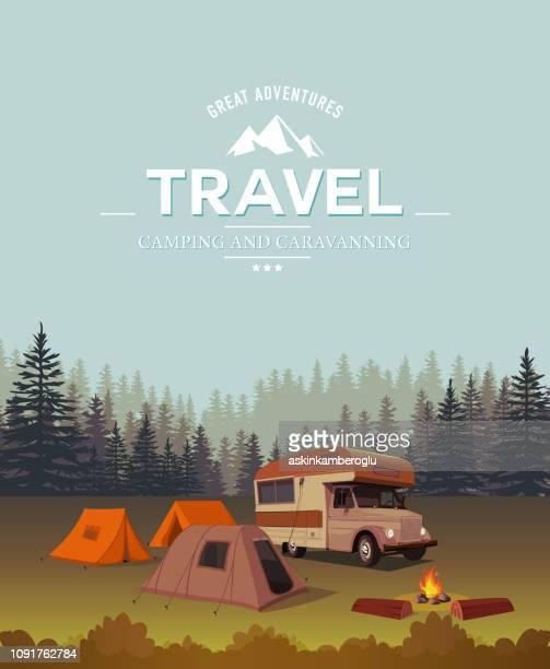 illustrations, cliparts, dessins animés et icônes de grandes aventures - camping car