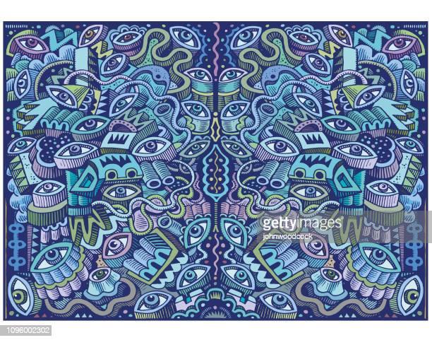 great big blue doodle illustration - psychedelic stock illustrations
