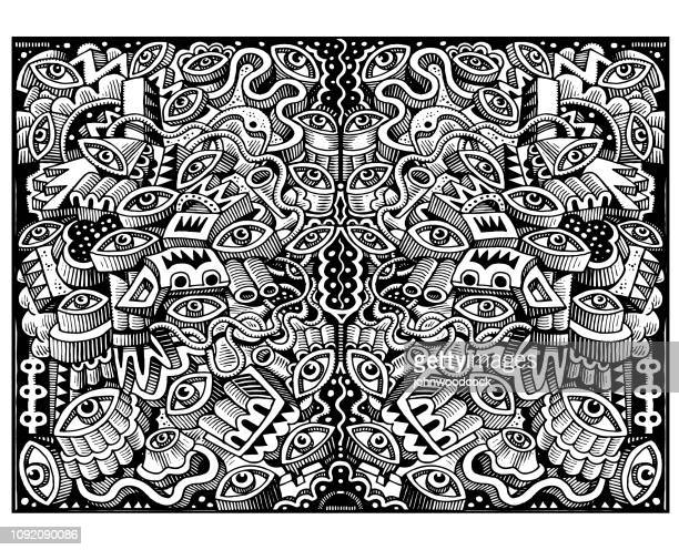 great big doodle illustration - psychedelic stock illustrations