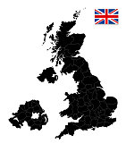 Great Britain Black map isolated on white