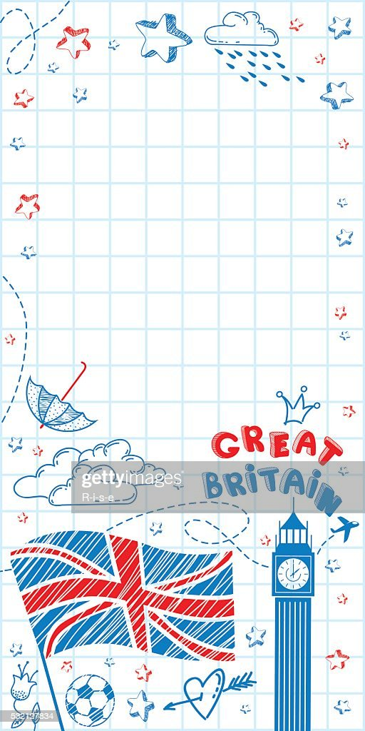 Great Britain doodle background