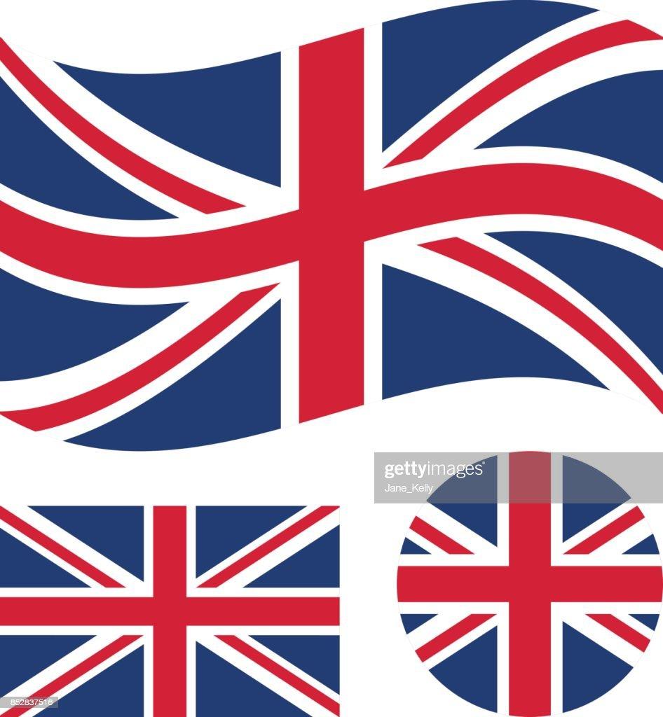 Great britain flag set. Rectangular, waving and round circle Union Jack flag. UK, british national symbol. Vector icons