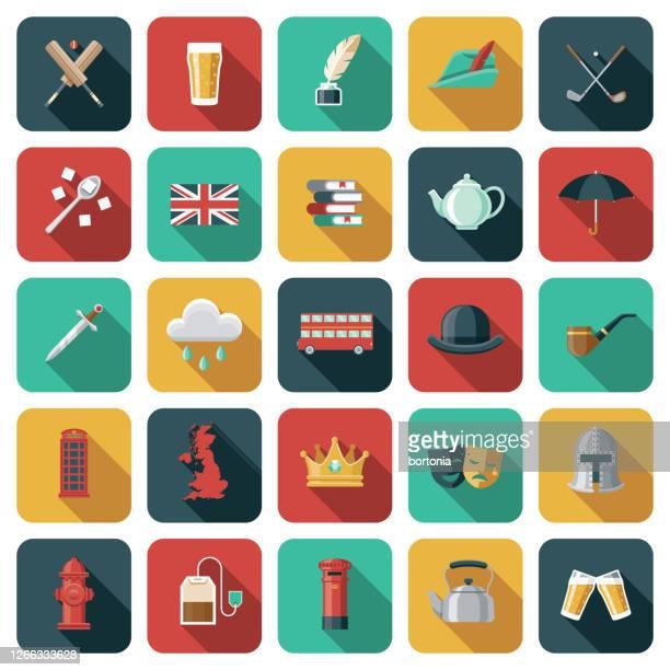 illustrations, cliparts, dessins animés et icônes de ensemble d'icônes de grande-bretagne - culture britannique