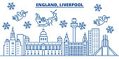 Great Britain, Liverpool winter city skyline. Merry Christmas, Happy New Year decorated banner with Santa Claus.Winter greeting line card.Flat, outline vector.Linear christmas snow illustration