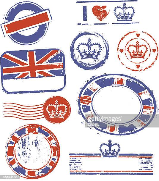 great britain rubber stamps - british culture stock illustrations
