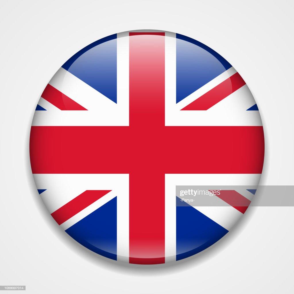 Great Britain, United Kingdom, England flag. Round glossy badge