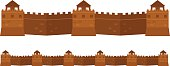 Great Chinese Wall old architecture famous attributes vector