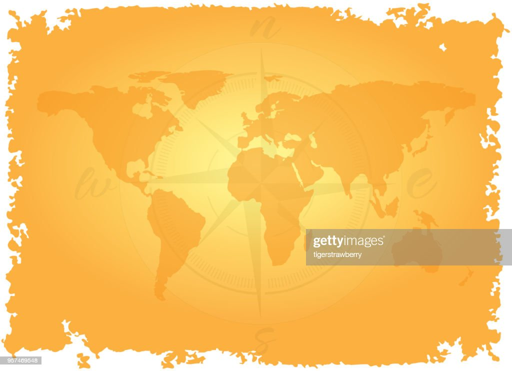 Great detailed illustration of the world map in vintage style imitation on old parchment background with wind rose or compass. Pirate map game concept. Travel adventure. Vector.