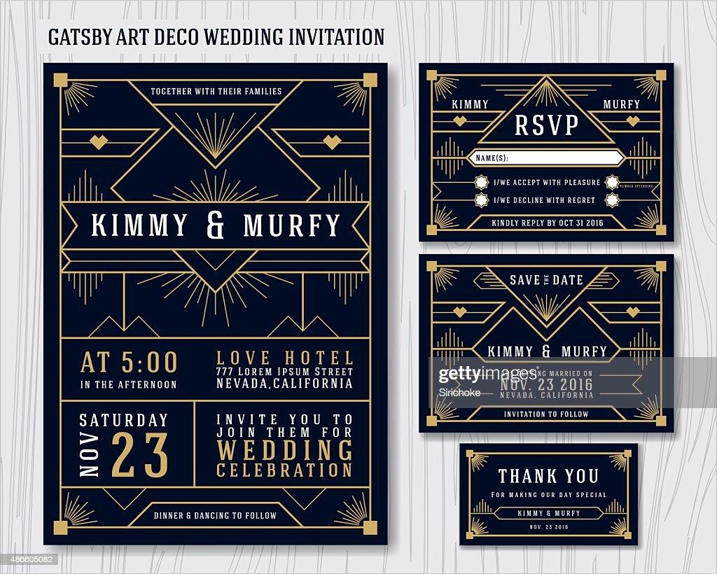 Great Gatsby Art Deco Wedding Invitation Design Template.