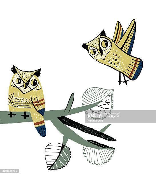 great horned owls on aspen tree branch - aspen tree stock illustrations, clip art, cartoons, & icons