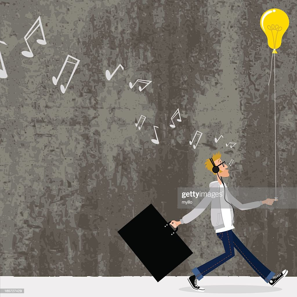 Great idea. Designer going to a job interview : stock illustration