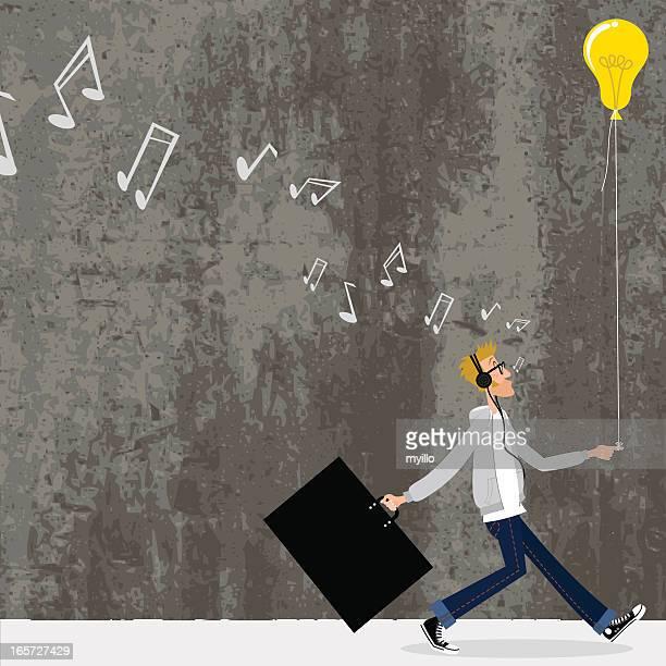 great idea. designer going to a job interview - human settlement stock illustrations, clip art, cartoons, & icons