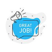 Great job of marketing design badge with loudspeaker blue color. Vector illustration on white background.