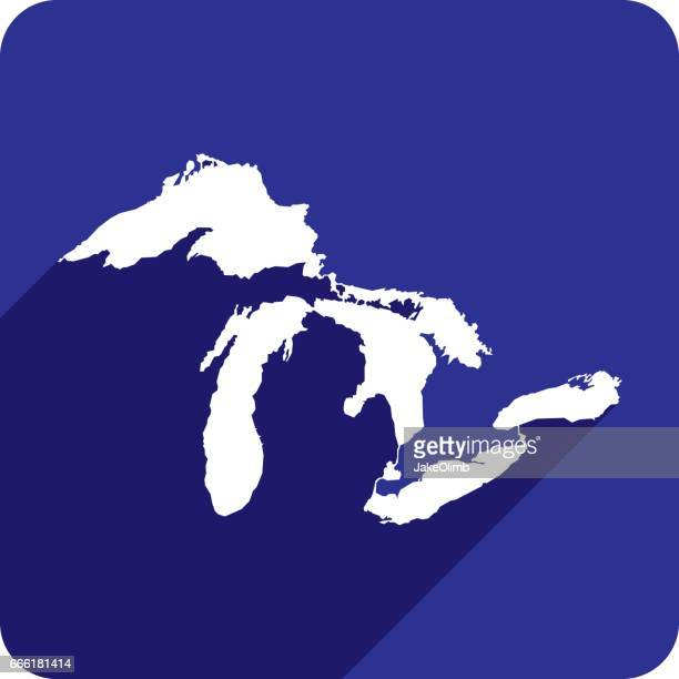great lakes icon silhouette - great lakes stock illustrations
