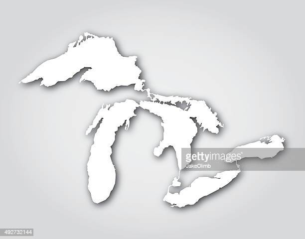 great lakes silhouette white - great lakes stock illustrations