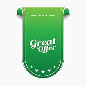 Great Offer Green Vector Icon Design