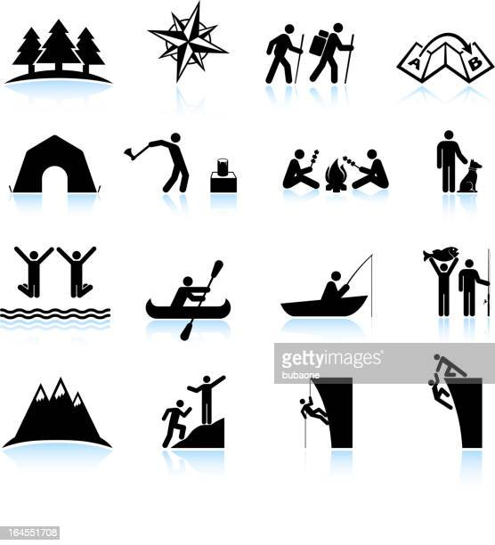 Great outdoors camping and hiking summer fun icon set