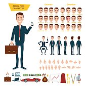 A great set for the animation of a businessman character on a white background. Animation of sounds, emotions, gestures of hands. View straight, side, back, 3/4.