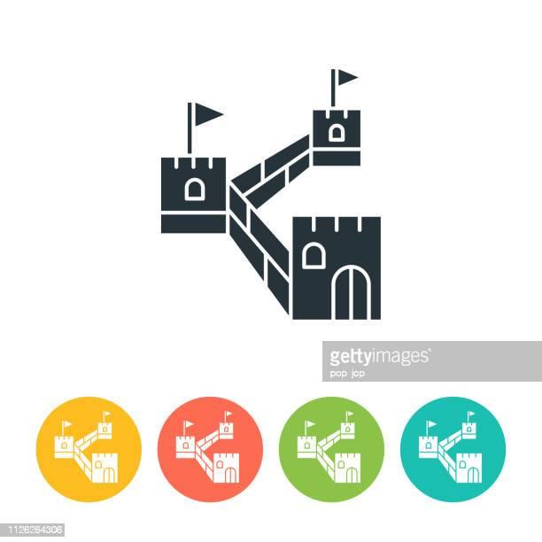 ilustraciones, imágenes clip art, dibujos animados e iconos de stock de gran icono plano pared - ilustración de color - granmurallachina