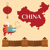 Great wall of China beijing asia landmark brick architecture culture history vector illustration