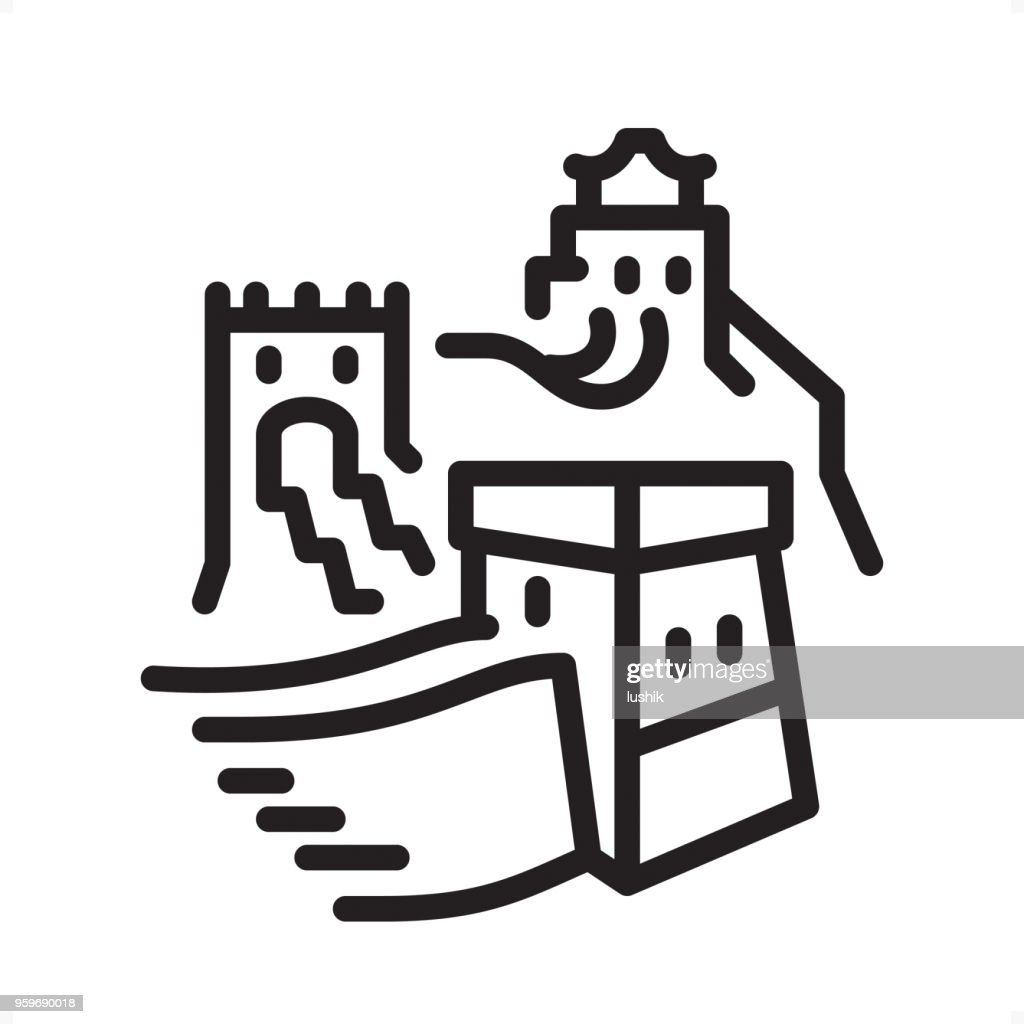 Great wall of china - Outline Icon - Pixel Perfect : stock illustration