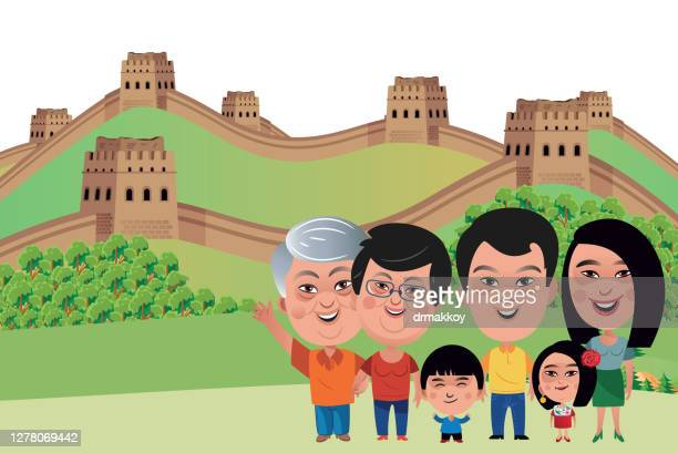 great wall of china - unesco world heritage site stock illustrations
