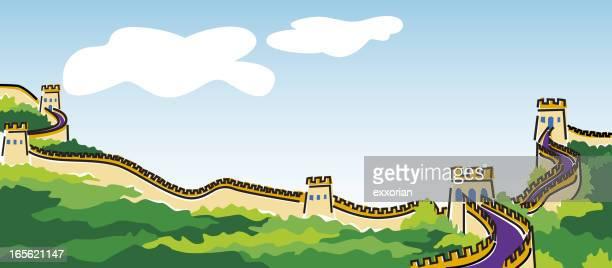 ilustraciones, imágenes clip art, dibujos animados e iconos de stock de gran muralla china - granmurallachina