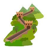 Great wall of China. Vector illustration.