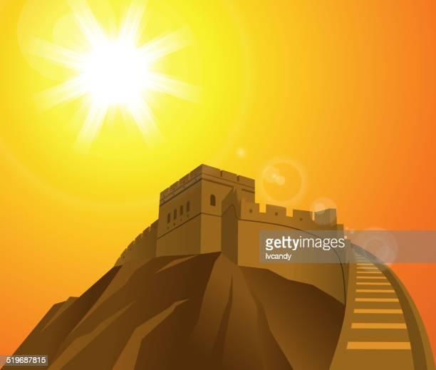 ilustraciones, imágenes clip art, dibujos animados e iconos de stock de gran wall - granmurallachina