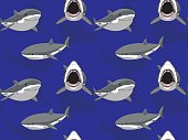 Great White Shark Cartoon Seamless Wallpaper